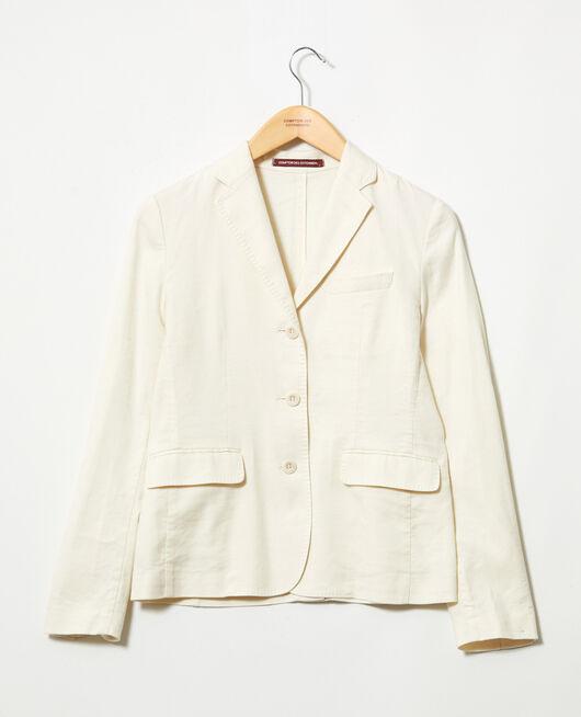 Veste de costume avec du lin OFF WHITE