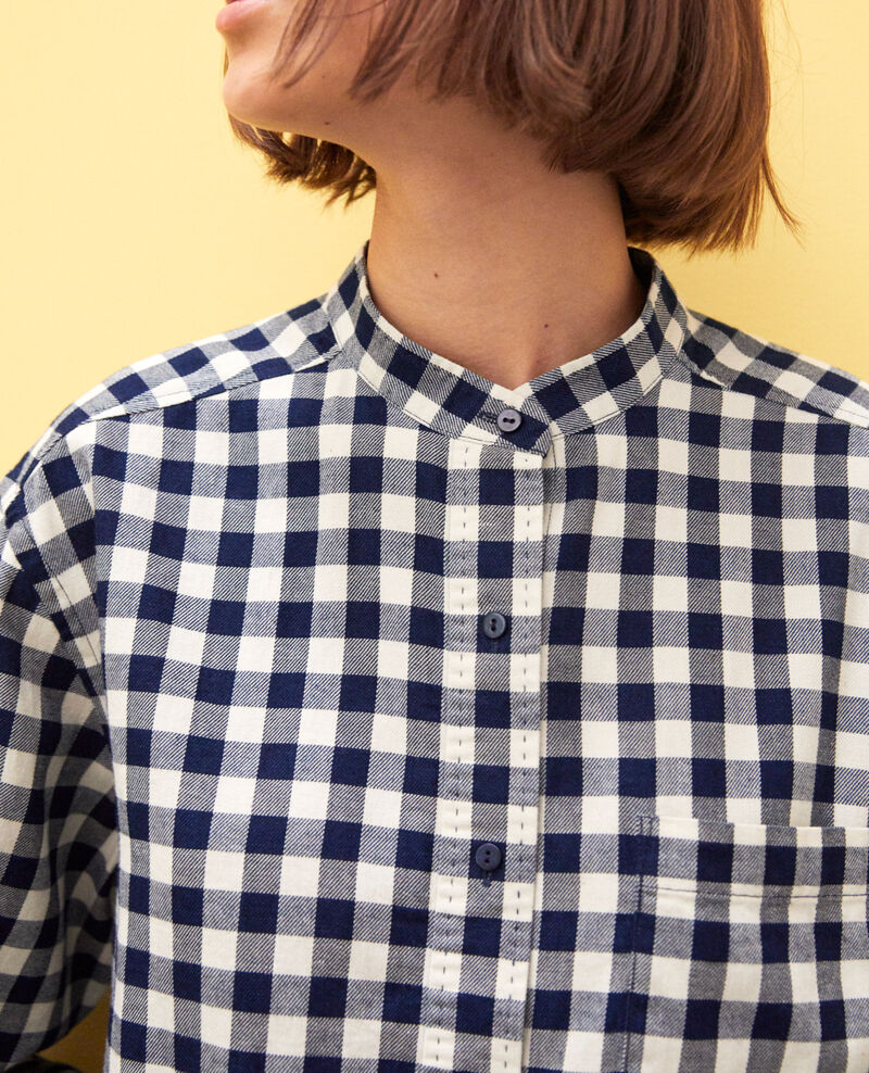 Chemise coupe droite Navy/blanc Ivonnu