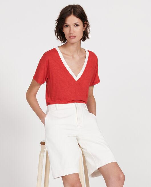 T-shirts en lin jersey STRIPES FIERY RED GARDENIA