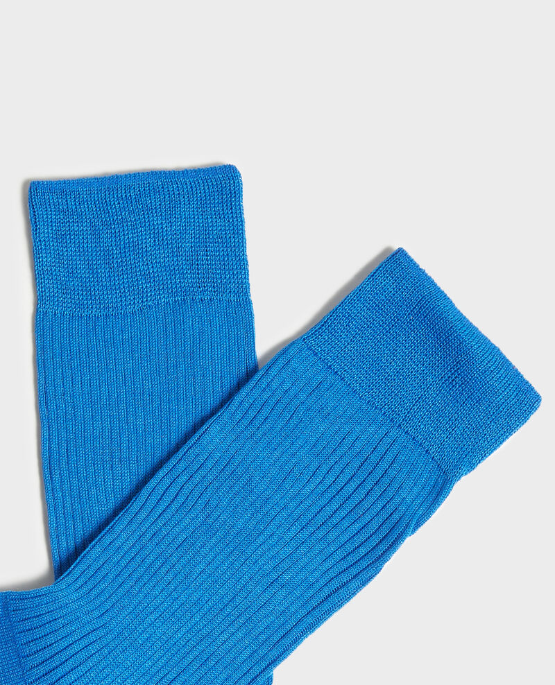 Chaussettes en coton côtelées Princess blue Loig