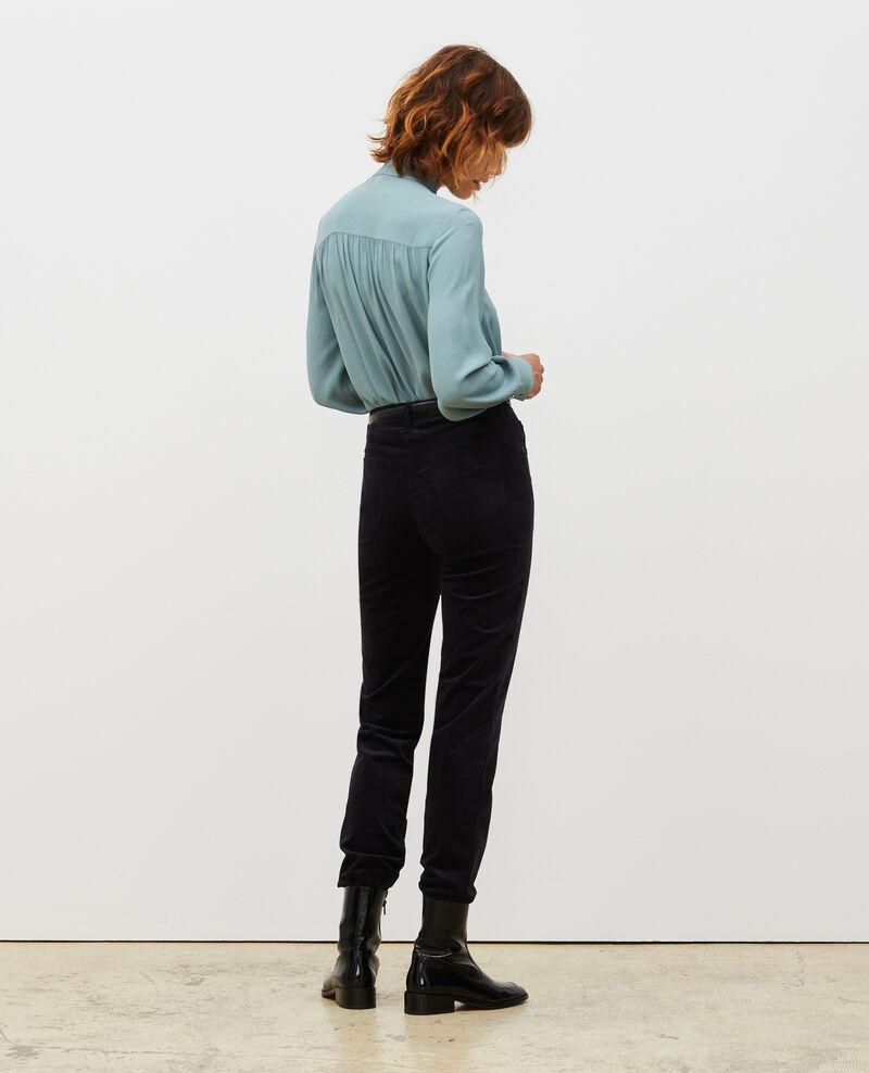 SLIM STRAIGHT - Jean droit en velours lisse 5 poches Night sky Muillemin