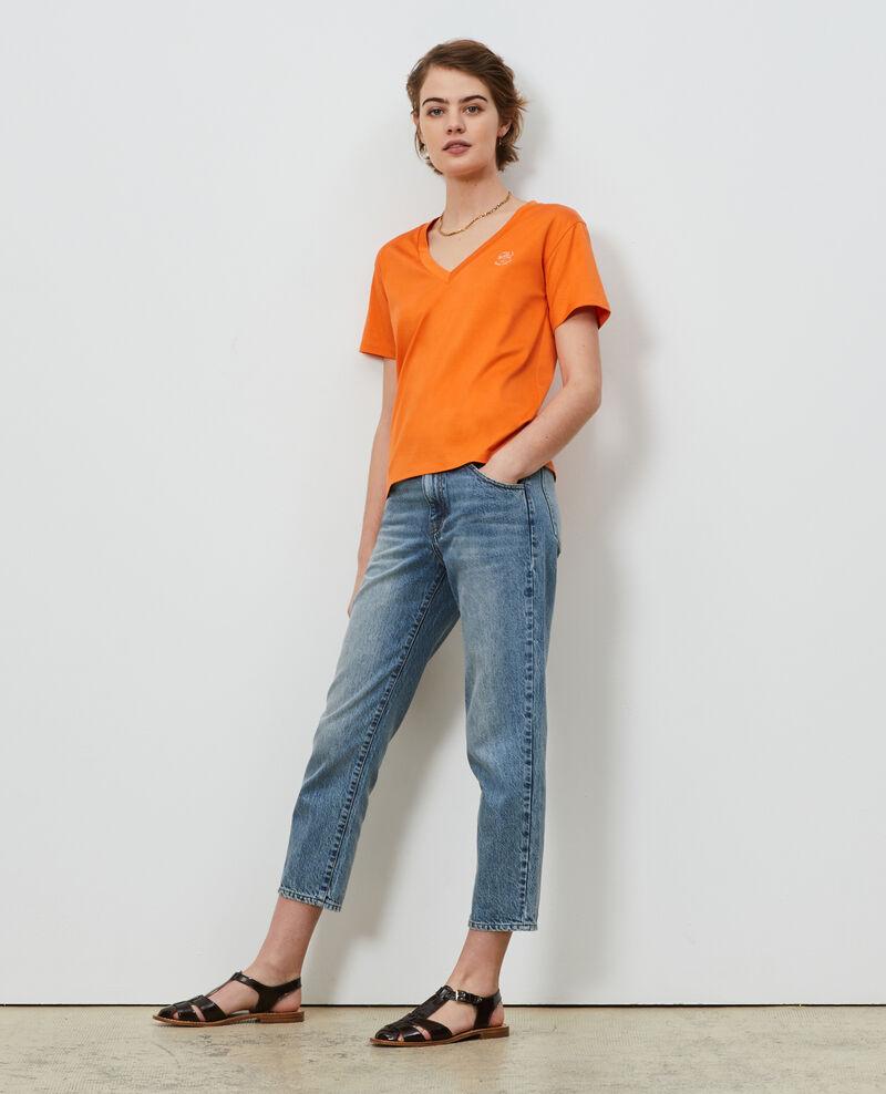T-shirt brodé en coton Harvest pumpkin Nagaoka