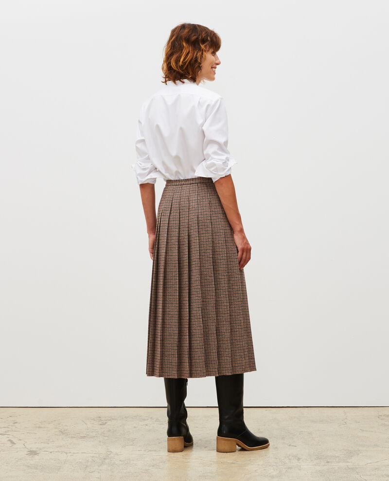 Jupe plissée en tweed de laine Check-wool-pattern-tailoring Mialos