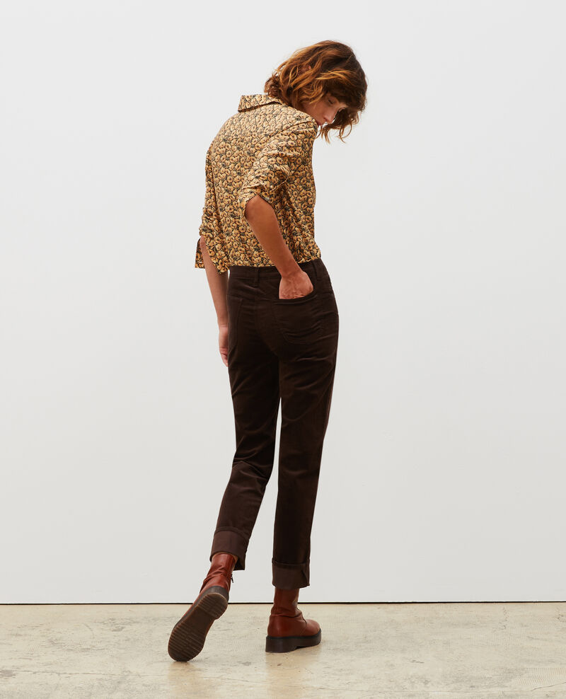 SLIM STRAIGHT - Jean droit en velours lisse 5 poches Coffee bean Muillemin