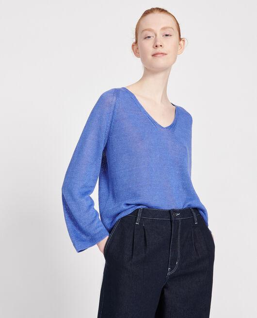 Pull léger en maille jersey AMPARO BLUE
