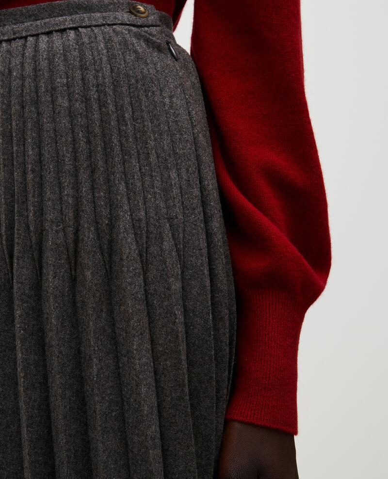 Jupe plissée en laine Medium grey melange Mareille