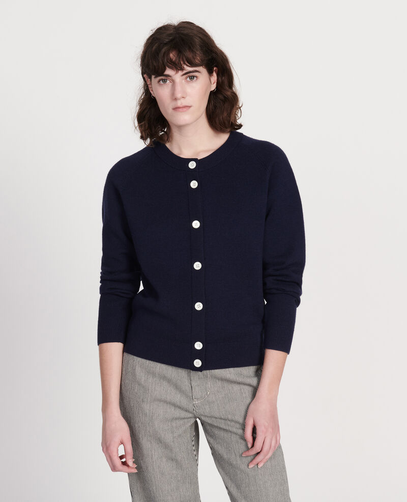 Cardigan col rond 100% laine Maritime blue Louvres