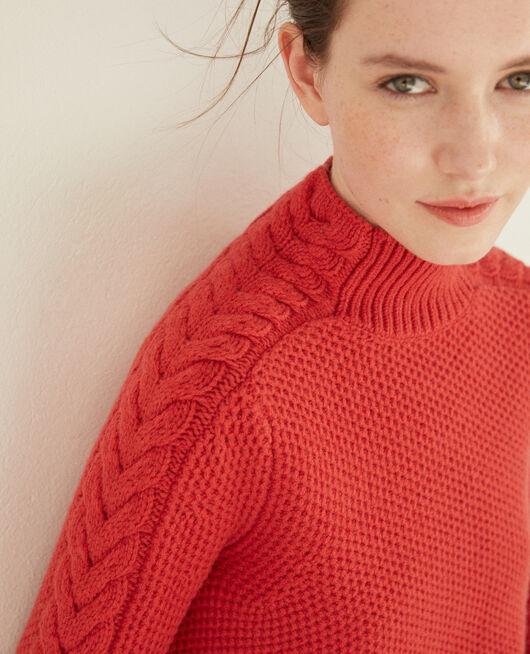Pull en laine avec détails de tresses POMPEIAN RED