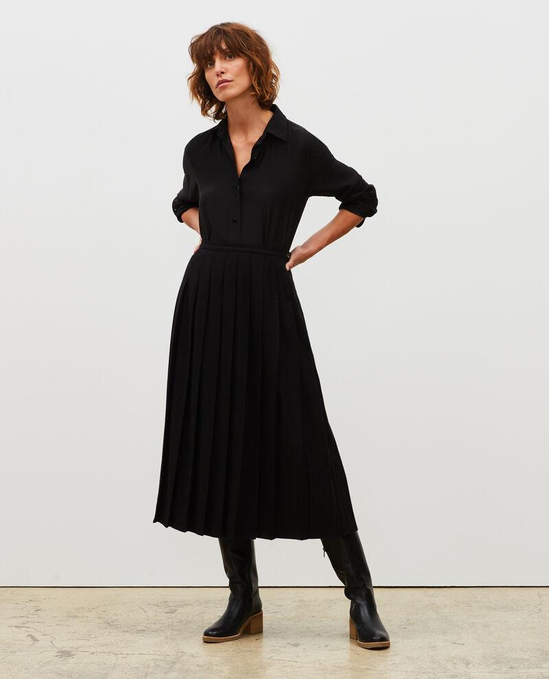 Jupe plissée en tweed de laine Black beauty Mialos