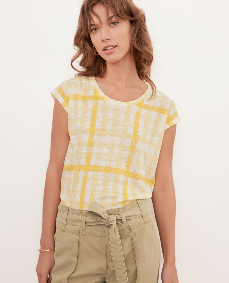 T-shirt en lin imprimé Ghingham big lemon Fengshui