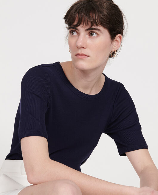 T-shirt fines côtes en coton mercerisé MARITIME BLUE
