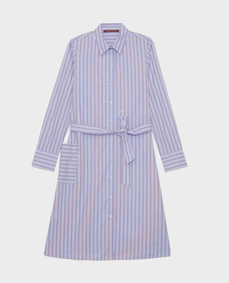 Robe-chemise ceinturée en coton Popeline stripes Lenka