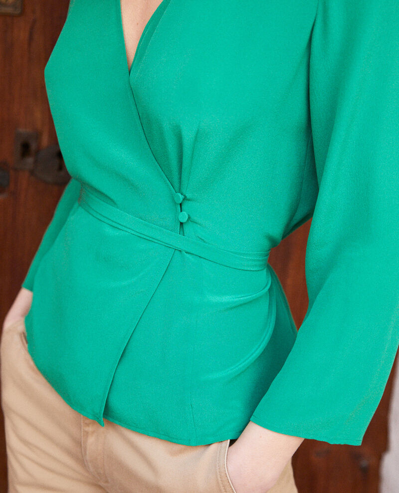 Blouse cache cœur en soie Green Itocoeur