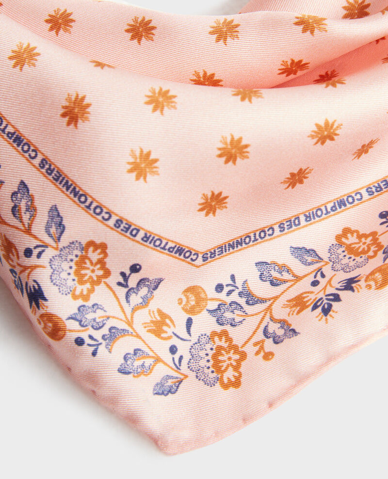 Foulard en soie format losange Seashell pink Nandana