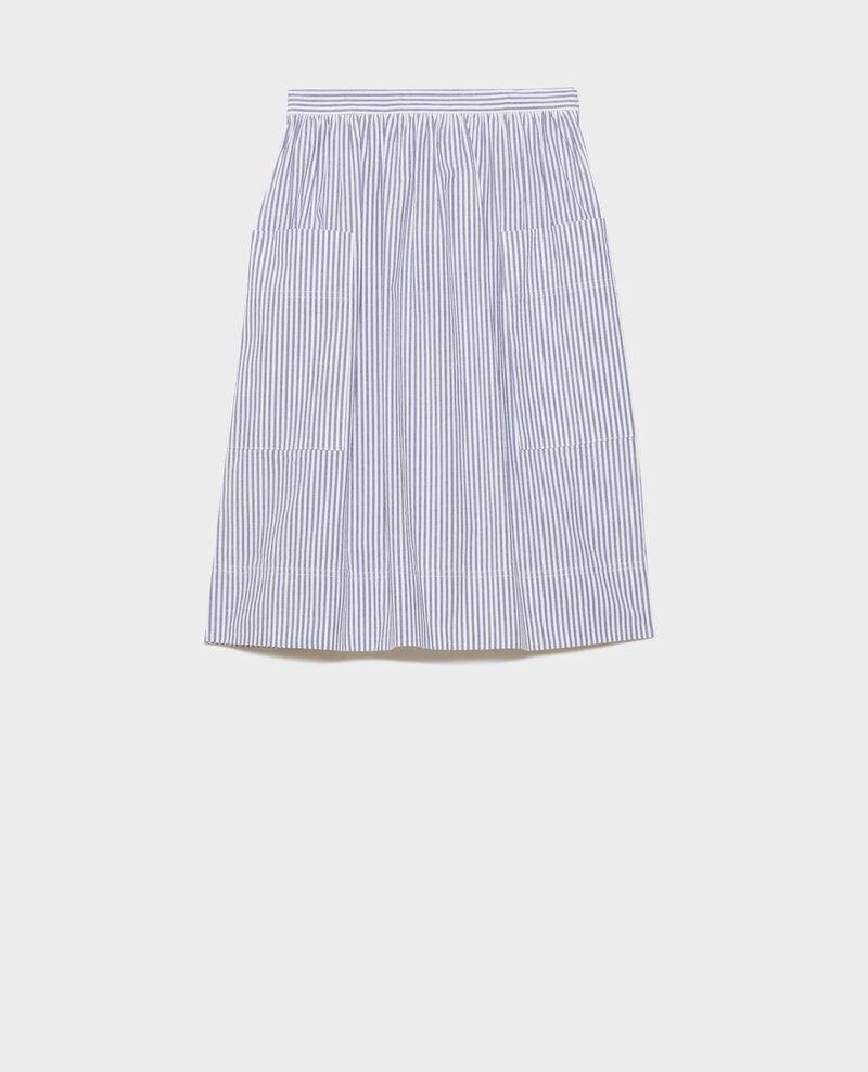 Jupe mi-longue en coton seersucker Str navy Nebaral