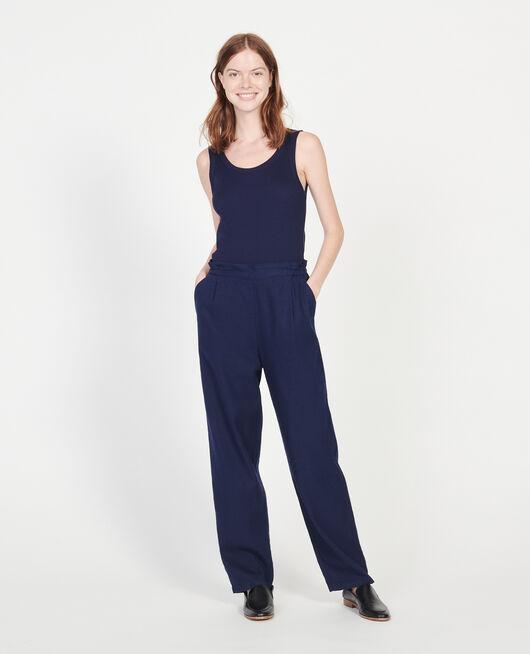 Pantalon élastiqué « easy wear »en lin MARITIME BLUE