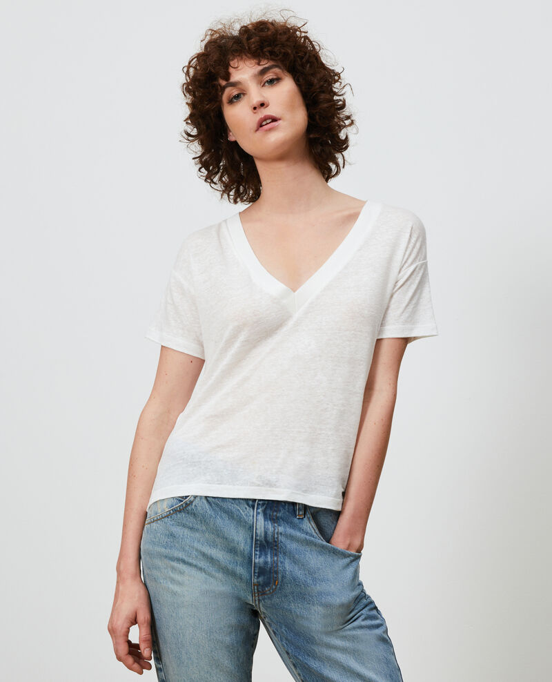 T-shirt col V en lin Optical white Locmelar