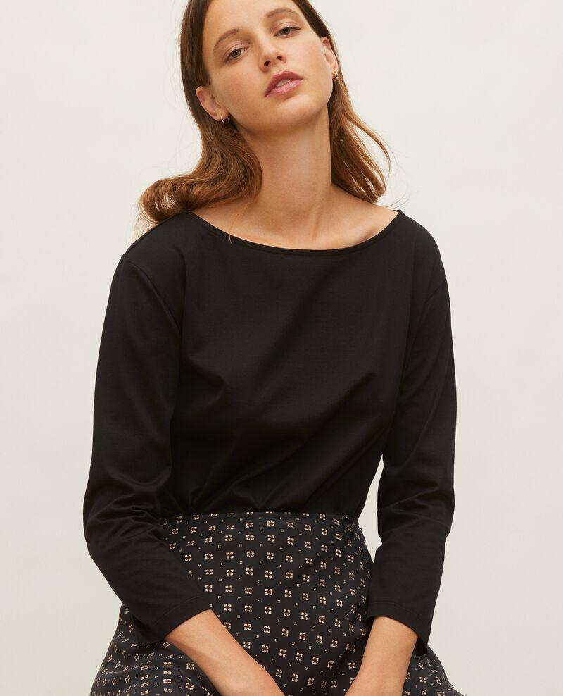 T-shirt coton manches longues col bateau Black beauty Lotel