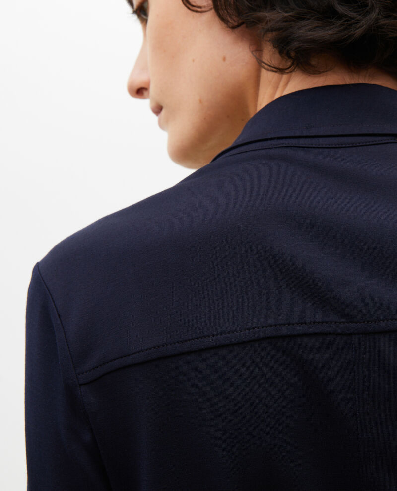 Robe chemise en jersey de soie Maritime blue Lulia