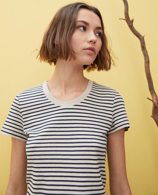 T-shirt marinière BEIGE/NAVY