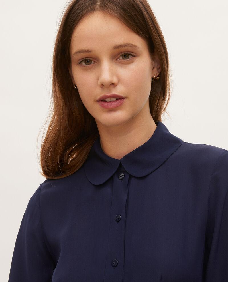 Robe chemise en soie ceinturée col rond Maritime blue Lolita