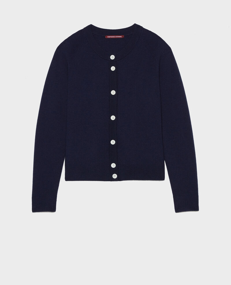 Cardigan col rond en laine Maritime blue Louvres