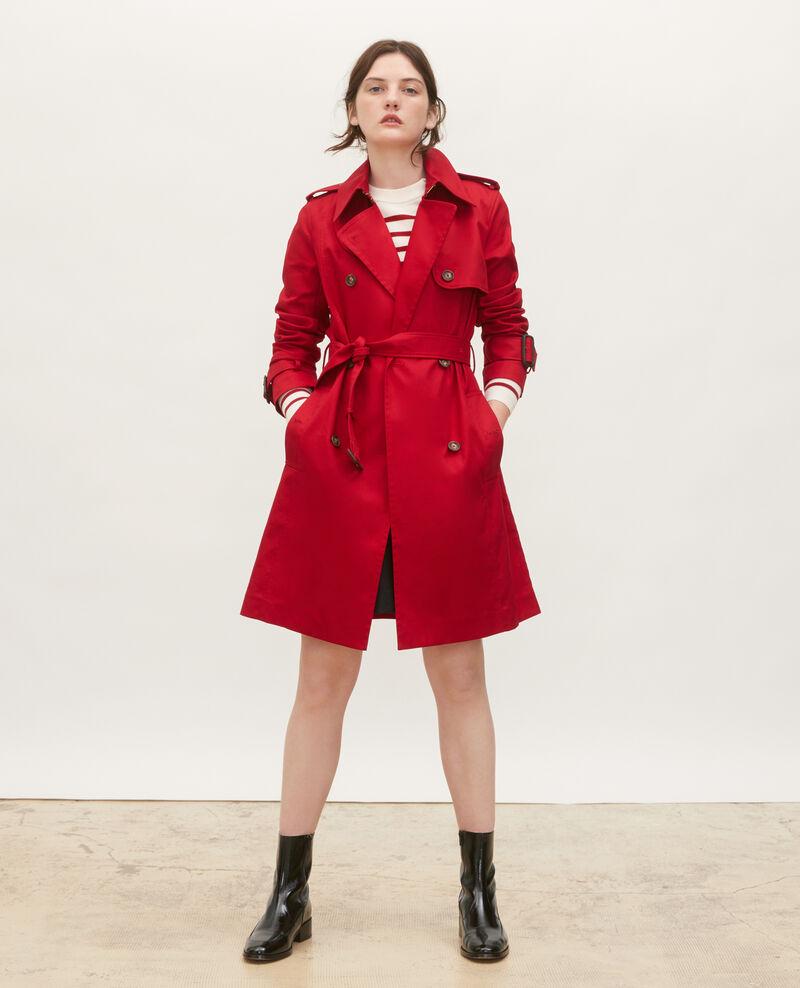 CATHERINE - Trench ceinturé mi-long en coton Royale red Mambert