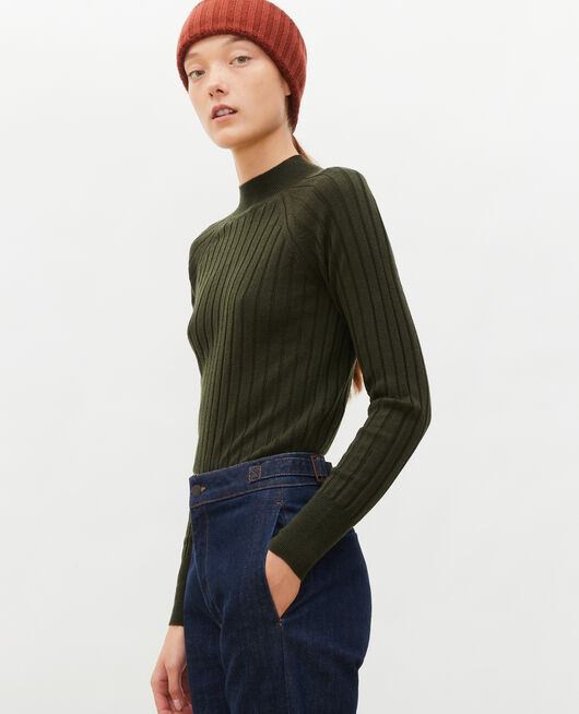Pull côtelé col cheminée laine mérinos MILITARY GREEN