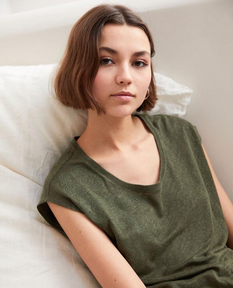 T-shirt en lin brodé Cheng olive Imomo