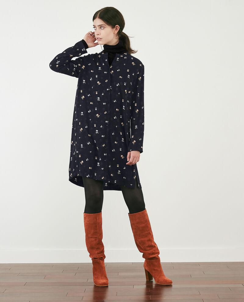 Robe-chemise imprimée Pinecones dark navy Delgaudio