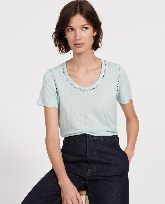 T-shirt en lin jersey  BLUE HAZE