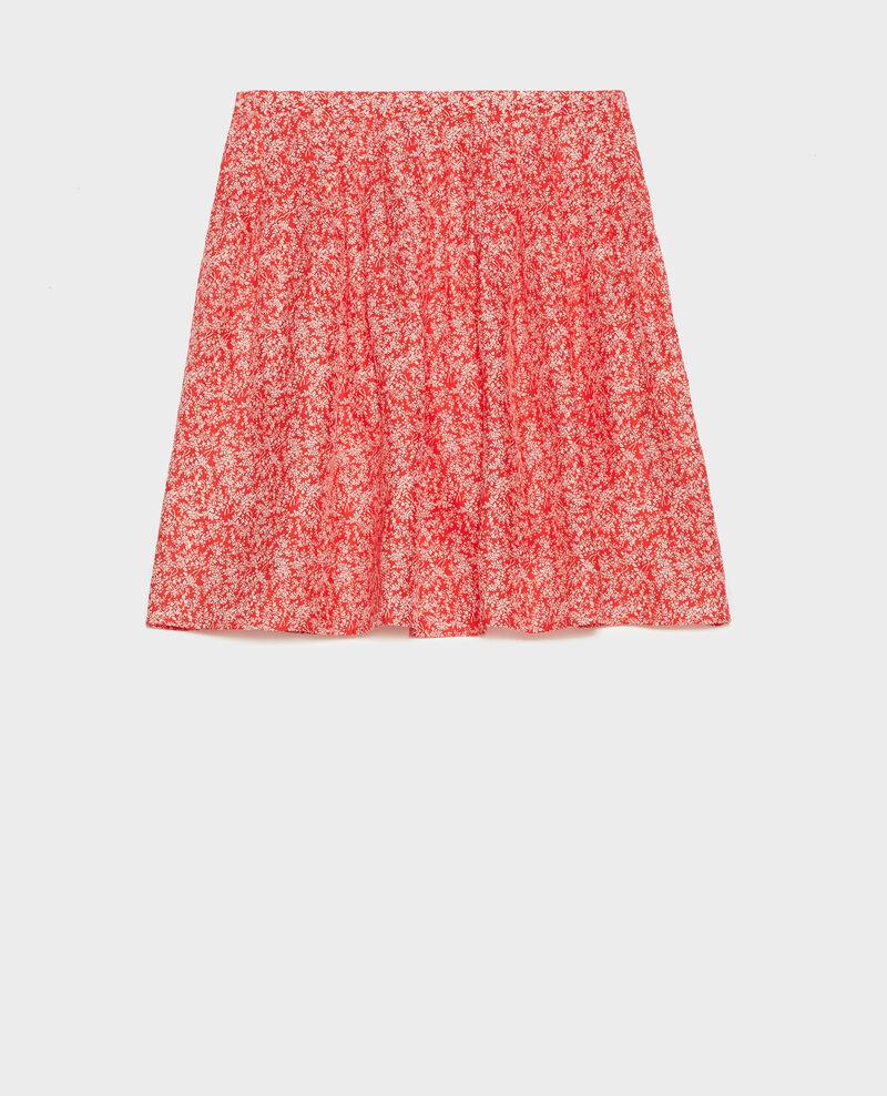 Jupe plissée en soie Feuillage fiery red Lussac