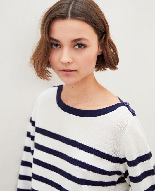 Pull marinière en laine OFF WHITE/NAVY