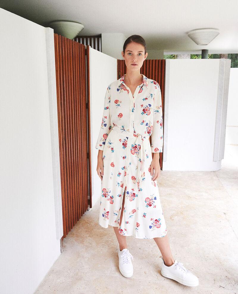 Robe longueur midi Fleurs off white Fidji