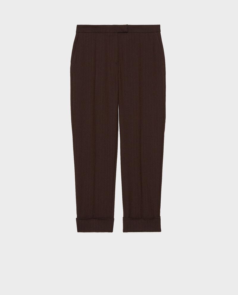 Pantalon MARGUERITE, 7/8e fuselé en laine  Coffee bean Mokita