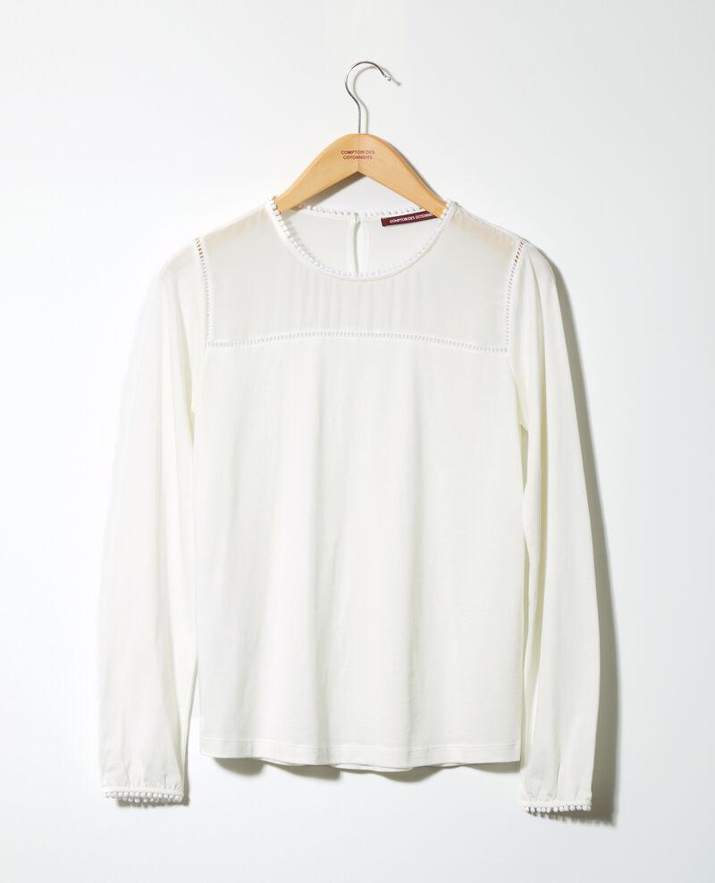 T-shirt bi-matière avec détails de pompons Off white Glivoire