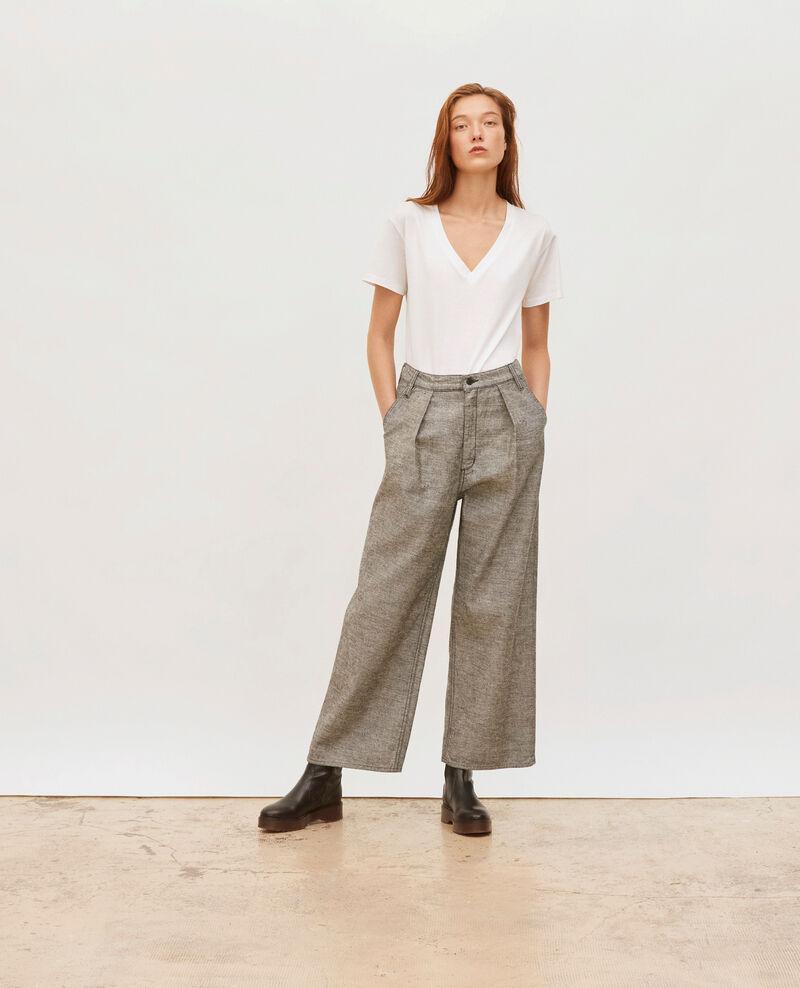PLEATED - Pantalon large en denim gris Grey wash Maples