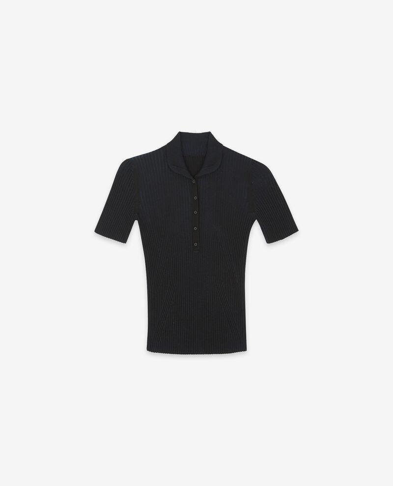 T-Shirt en maille côtelée Noir Dragibus