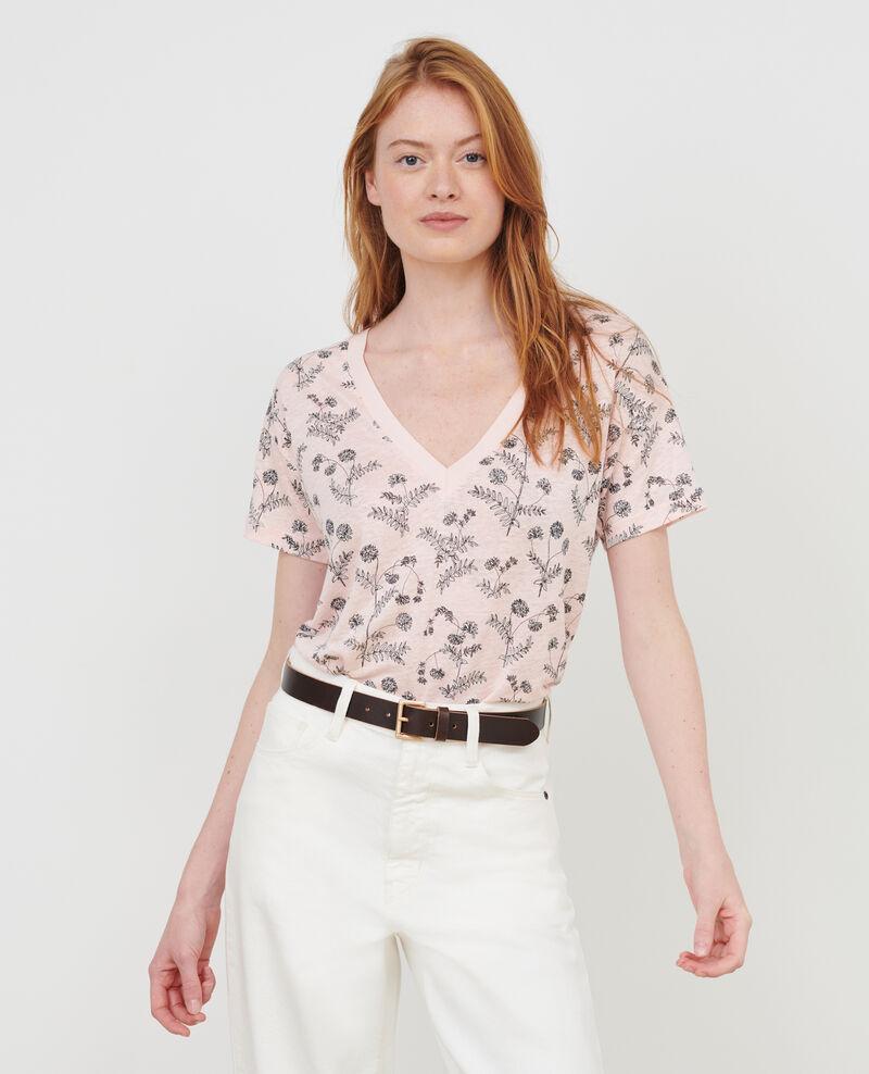 T-shirt col V en lin Coronille seashell Nayeli