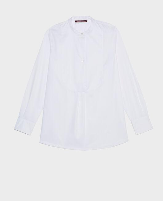 Chemise en coton oversize à plastron BRILLIANT WHITE
