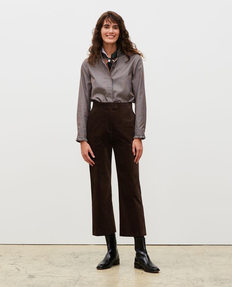 Pantalon flare en velours taille haute 7/8e Coffee bean Marousseau