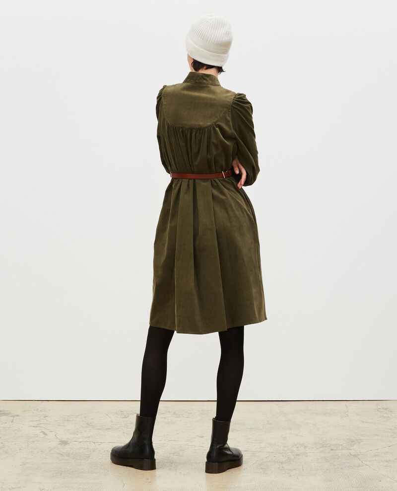 Robe ample en velours à plastron Military green Marcheville