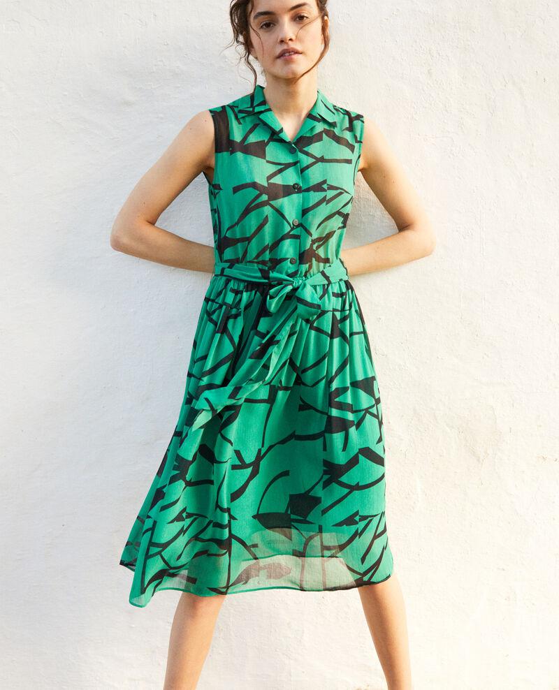 Robe en crêpe imprimée Primitive lines green Icran