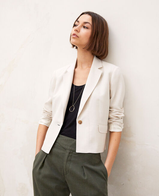 Veste de costume courte DUST BEIGE/OFF WHITE
