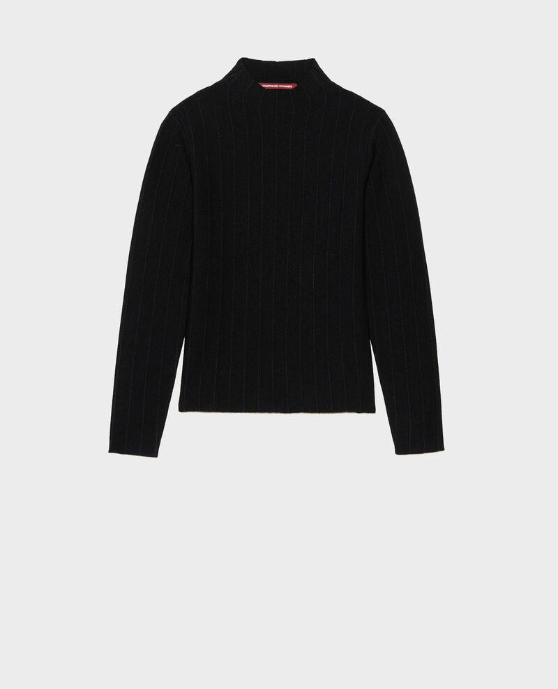 Pull à col cheminée en laine mérinos Black nightsky jacquard Marquisa