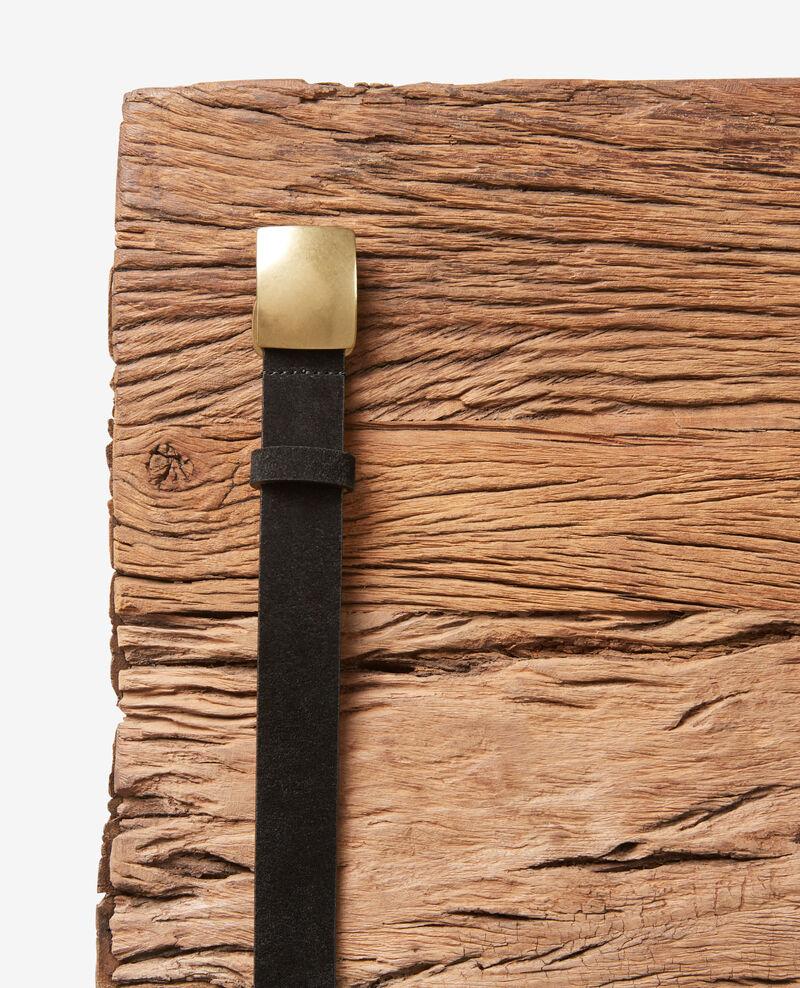 Ceinture en croute de cuir Noir Faille