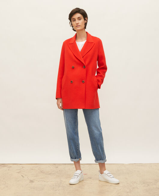 Manteau caban en lainage double face FIERY RED