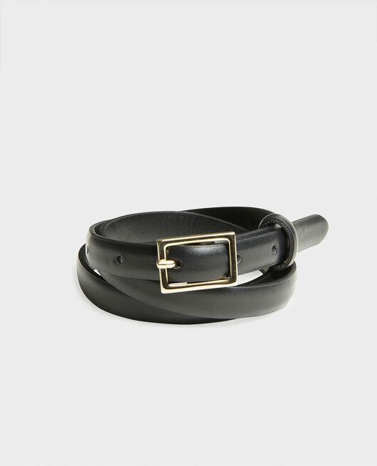 Fine ceinture cuir boucle rectangulaire BLACK BEAUTY
