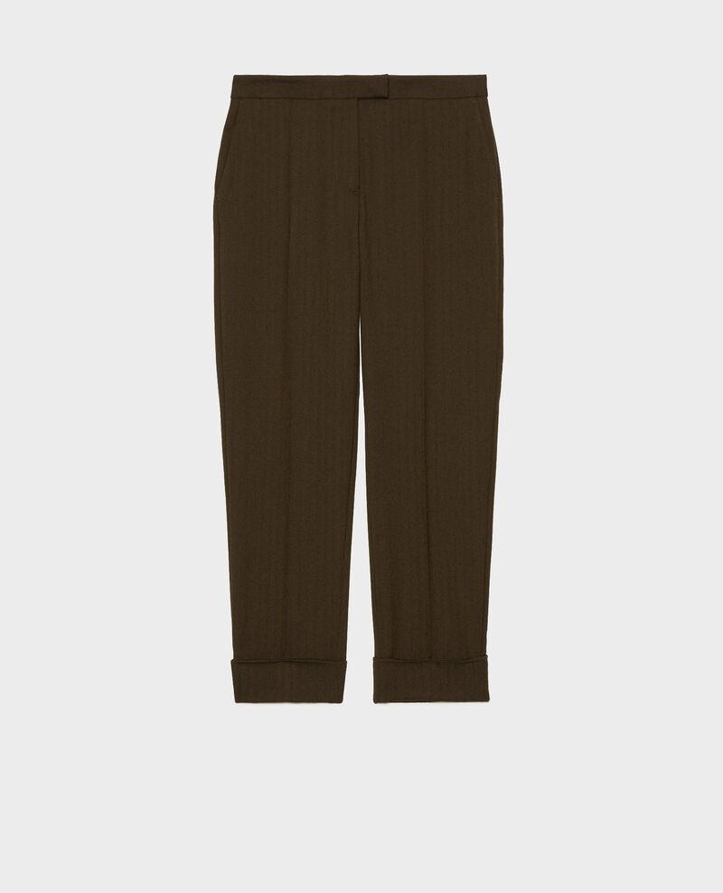 Pantalon MARGUERITE, 7/8e fuselé en laine  Military green Mokita