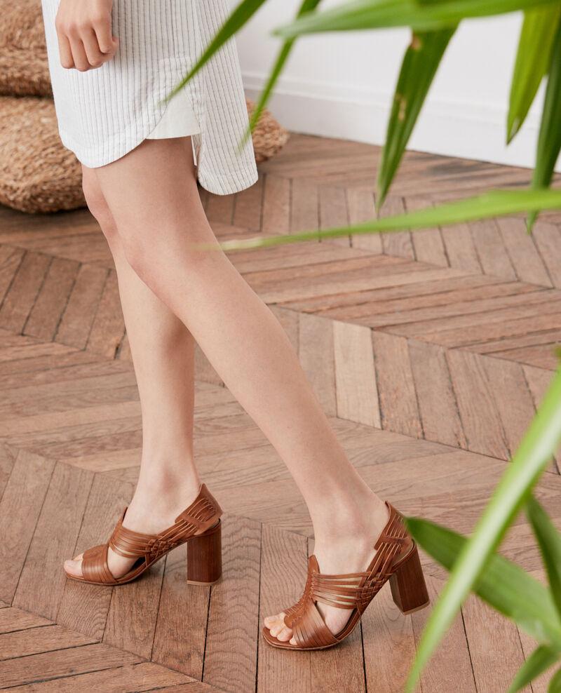 Sandales tressées Cognac Fonelle
